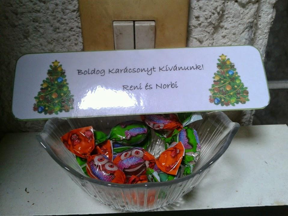 Karácsonyi üdvözlet cukorkával