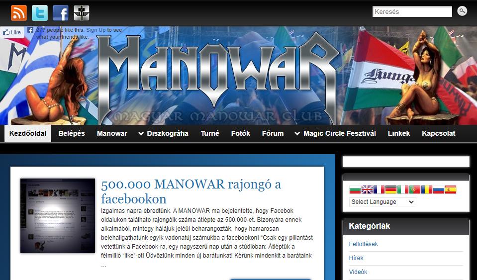 Manowar weboldal magyarul