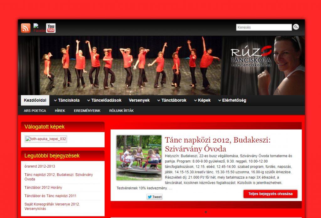 Rúzs Tánciskola weboldala